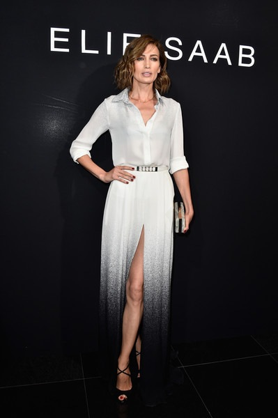 Nieves Alvarez attends the Elie Saab show as part of Paris Fashion Week Haute Couture