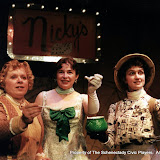 Christine Boice Saplin, Rita Russell and Eileen McCashion in ON THE VERGE - January/February 2000.  Property of The Schenectady Civic Players Theater Archive.