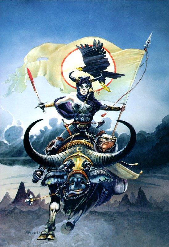 Girl On Bull With Black Raven, Magic Animals 1