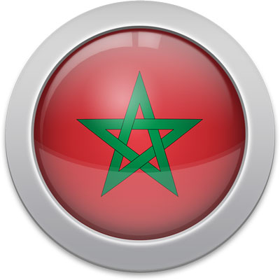 Moroccan flag icon with a silver frame