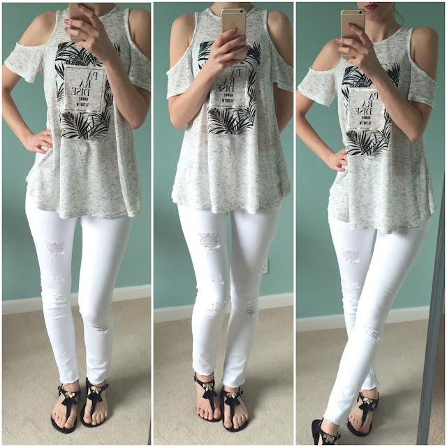 Primark, white jeans, cold shoulder top, sandals