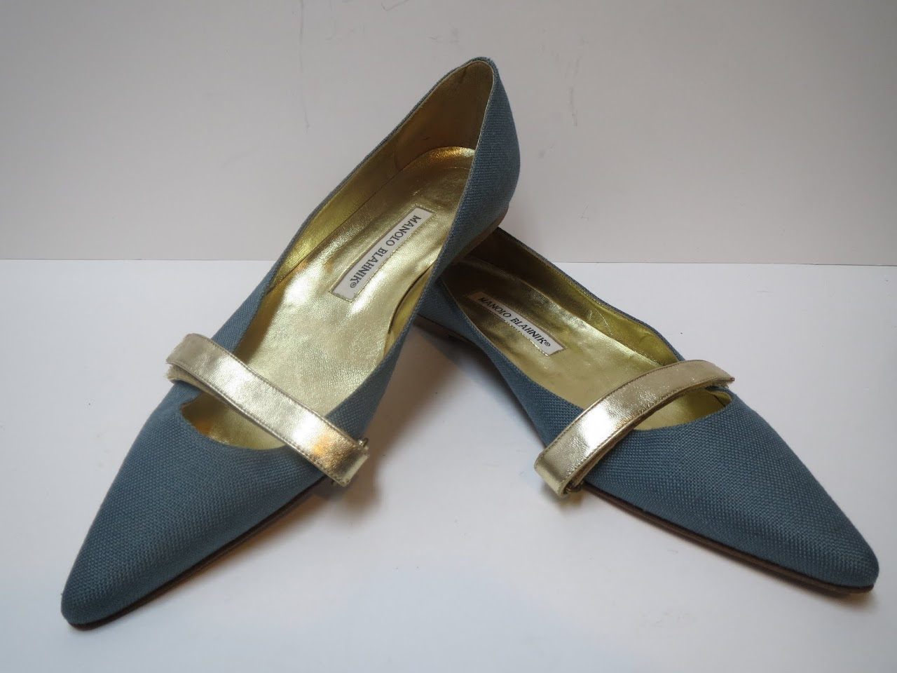 Manolo Blahnik Seafoam Blue and Gold Flats