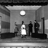 Marion Foster, Betsy Morray, Richard Marclay and Robert Peck in NO EXIT - January/February 1970.  Property of The Schenectady Civic Players Theater Archive.