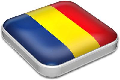 Flag of Romania with metallic square frame