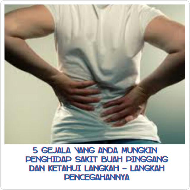 5 Gejala Yang Anda Mungkin Penghidap Sakit Buah Pinggang Dan Ketahui Langkah - Langkah Pencegahannya.