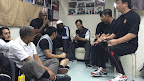 Talk time at Sifu Chau Lin Fat Shool in Kowloon.