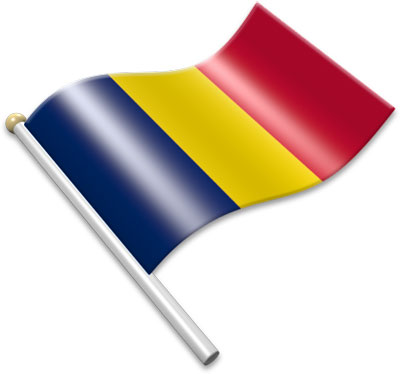 The Chadian flag on a flagpole clipart image