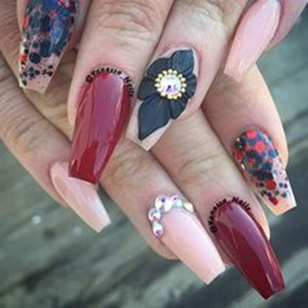 For a cute acrylic nail design, you can make use of matte red color. Paint  one of your finger a bright silver. Make your hands beautiful by adding a  nice ... - Spring Nail Art 2018: Cute Acrylic Nail Designs - Nails C