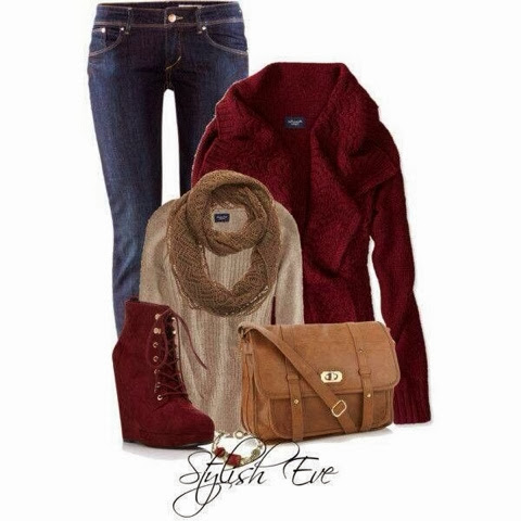 Red jacket, jeans pants, brown scarf, high heel red shoes and brown handbag for fall