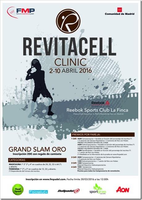 Comienza la cuenta atrás para el Grand Slam Oro Revitacell Clinic FMP en Reebok Sports Club La Finca del 2-10 Abril 2016.