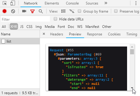 Chrome Network XHR Preview Tab - scrolling issues when rendering html