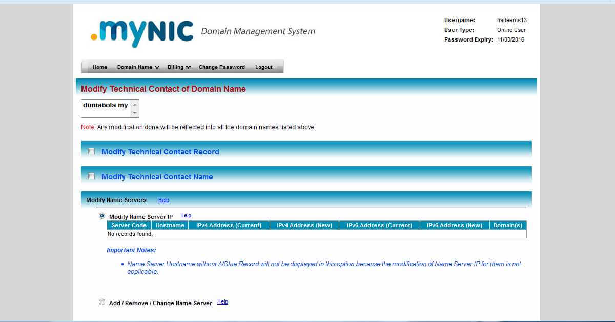 MyNic Modify Name Servers