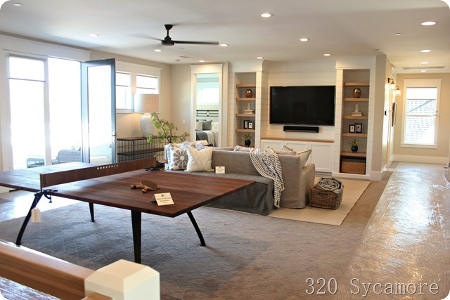 modern family room ping pong table