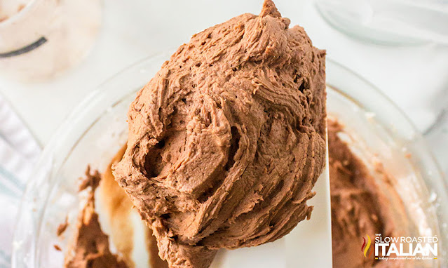Fluffy Chocolate Buttercream Frosting on a spatula
