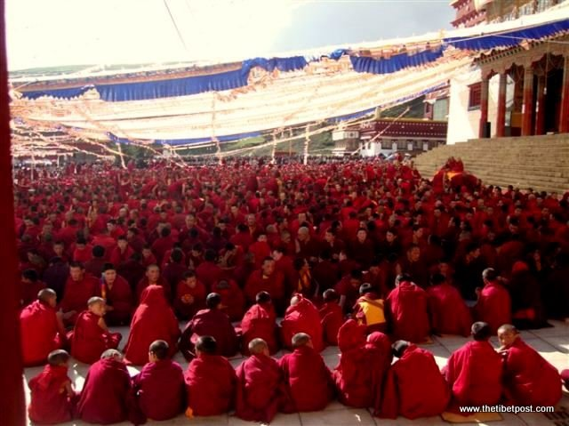 Massive religious gathering and enthronement of Dalai Lama's portrait in Lithang, Tibet. - l39.JPG