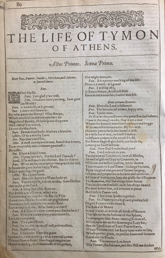 Title page of Timon of Athens from the First Folio