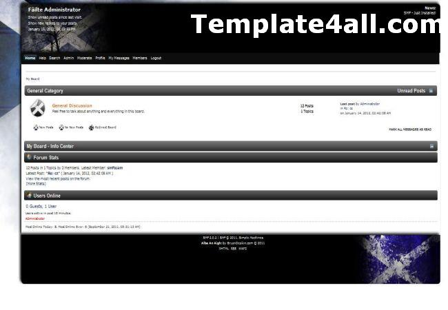 Free Black White SMF Theme Template