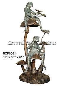 Bronze, Cascade, Fountain, Frog, Statue