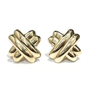 """14K Gold """"X"""" Earrings"""