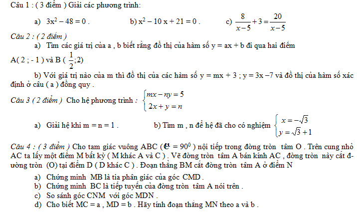 Điểm thi lớp 10 năm 2016 148 Đáp án đề thi môn toán vào lớp 10 Nam Định năm 2012