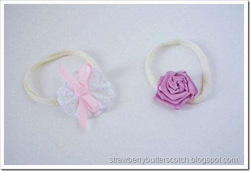Pretty baby headbands using tights.