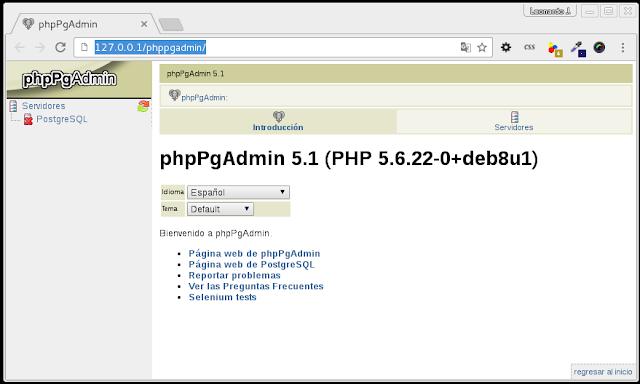 Bienvenido a phpPgAdmin