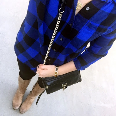boyfriend flannel shirt, riding boots, mom style