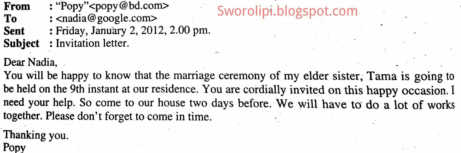 Email invitation letter to attend elder sister marriage ceremony email invitation letter to attend elder sister marriage ceremony stopboris Images
