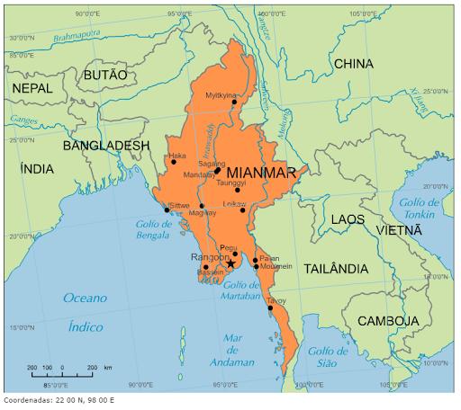 Blog de Geografia: Mapa de Mianmar, a antiga Birmânia