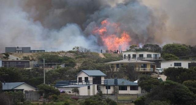 A Tasmania Fire Service image of a bushfire behind Arthur River township in the Australian state of Tasmania, on 28 January 2016. Photo: Warren Frey / Agence France-Presse