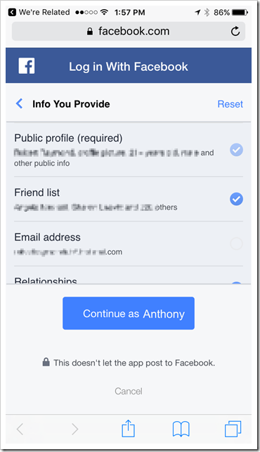 We're Related - Facebook permissions