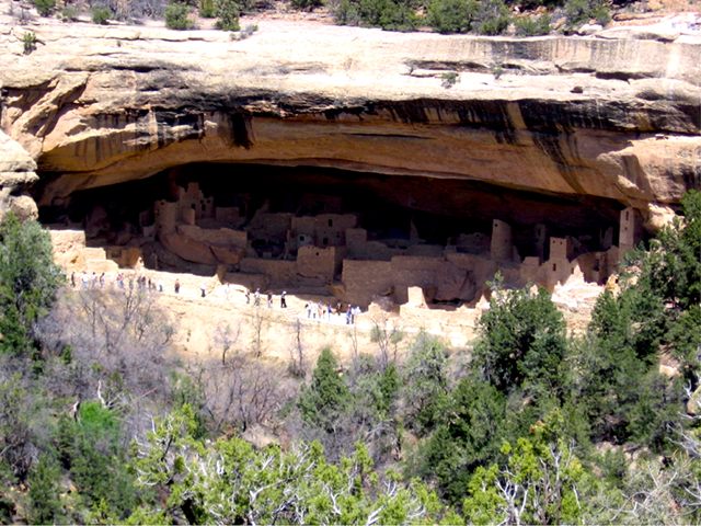 Abandoned, ancestral Puebloan ruins at Cliff Palace, Mesa Verde National Park, Colorado in the Four Corners region of the Southwestern U.S. This ancient civilization is thought to have been hobbled by a megadrought in the late 13th century. Photo: Jenny Leijonhufvud