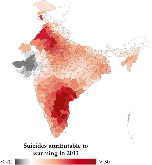 Darker red colors in the map of India above indicate more suicides due to climate changes that have already occurred since 1980. Graphic: Carleton, et al., 2017 / PNAS
