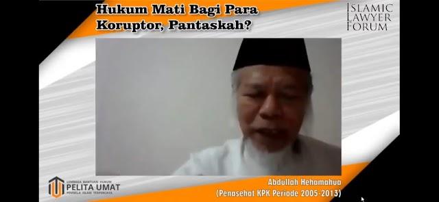 Abdullah Hehamahua Ungkap Korupsi Terjadi Karena Butuh dan Serakah