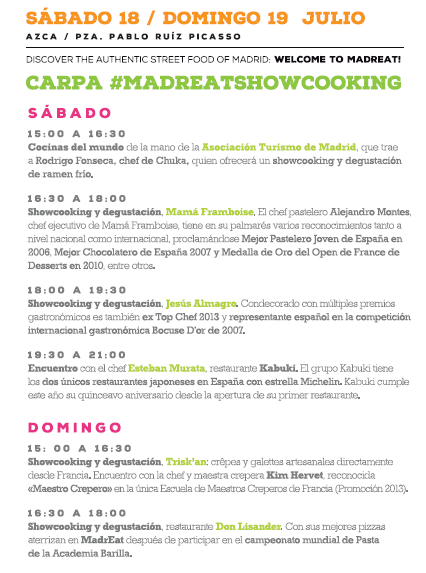 Cinco showcookings en la edición de julio de MadrEAT