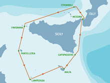 Rolex Middle Sea Race course around Sicily to Malta