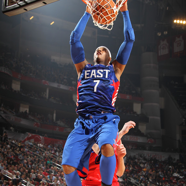 Carmelo Anthony #7 of the Eastern Conference All-Star Team dunks during 2013 NBA All-Star Game on February 17, 2013 at the Toyota Center in Houston, Texas.