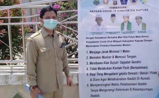 Satgas Covid-19 Kapuas Timur Sebar Spanduk Imbauan Prokes Ibadah Ramadan