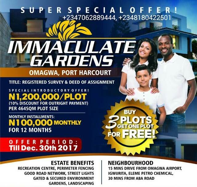 IMMACULATE GARDENS, OMAGWA, PORT HARCOURT, NIGERIA (LAND FOR SALE)