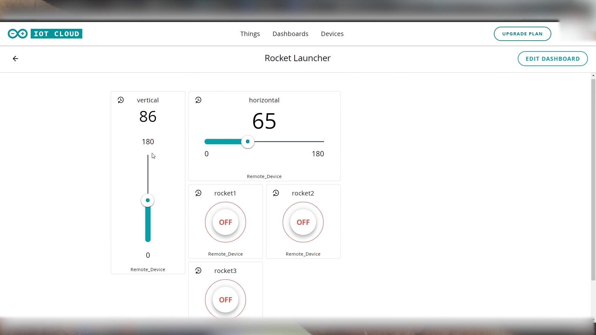 Arduino IOT Cloud Rocket Launcher Dashboard
