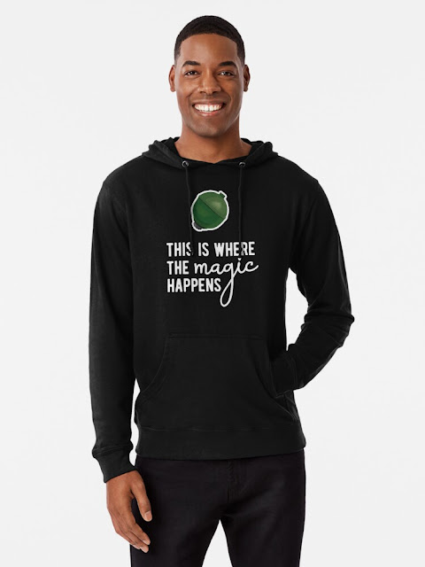 This Is Where The Magic Happens - sphere hoodie with white text