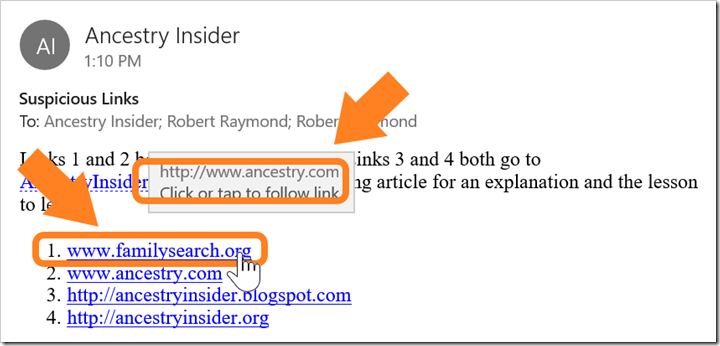 Hover over a link in some email programs to see the actual destination near the link.