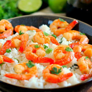 Honey Garlic Shrimp and Cilantro Lime Rice Bowl