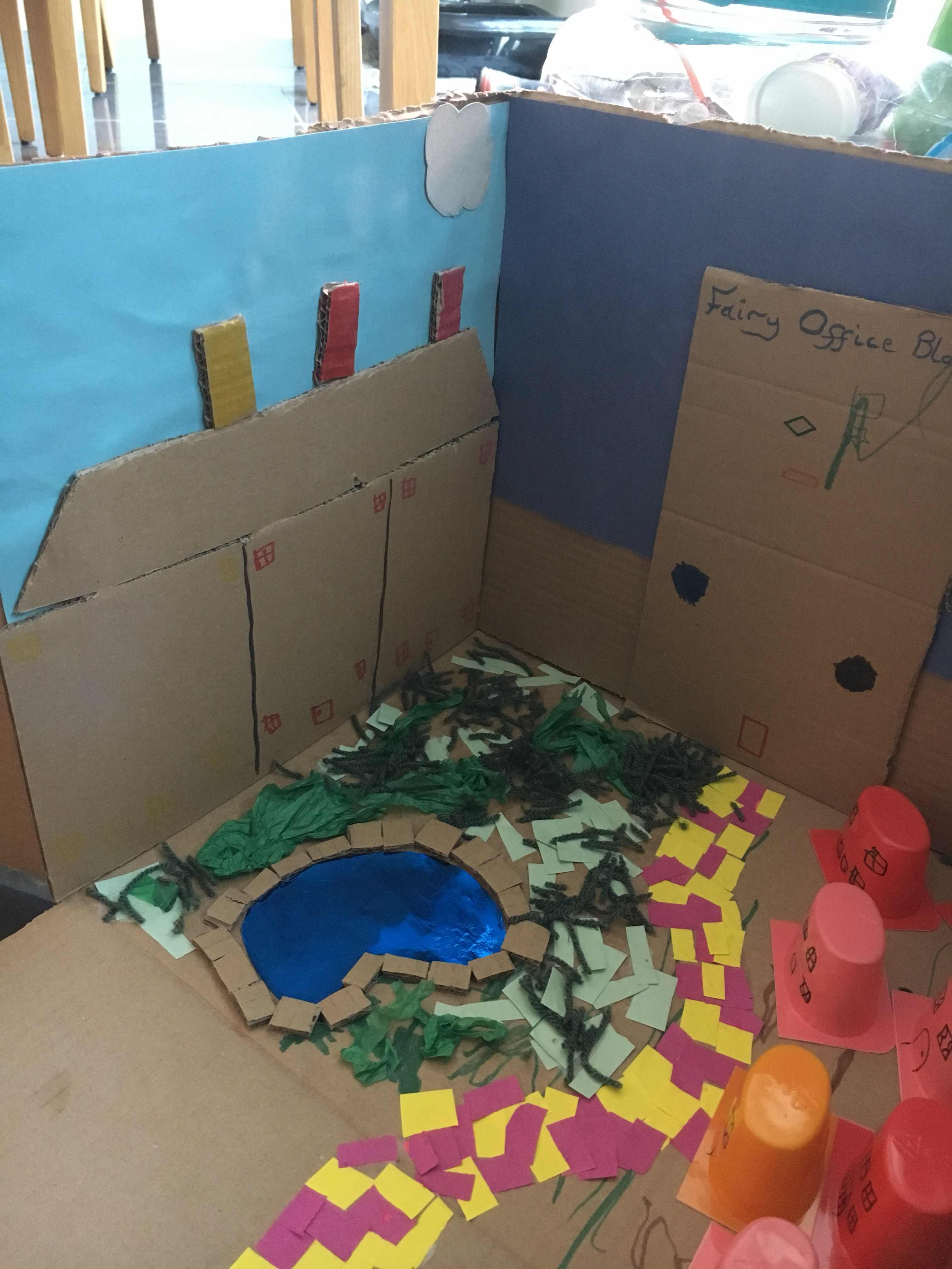 Fairy land made from a cardboard box