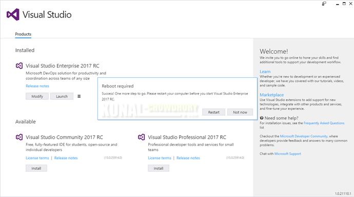 Visual Studio 2017 Installation Completion (www.kunal-chowdhury.com)