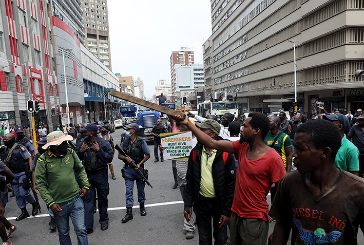Hundreds of MKMVA members and truck drivers took to the streets of Durban's CBD on Monday demanding that they be given job opportunities in preference to foreigners.