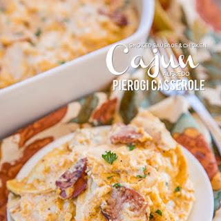 Smoked Sausage & Chicken Cajun Alfredo Pierogi Casserole.