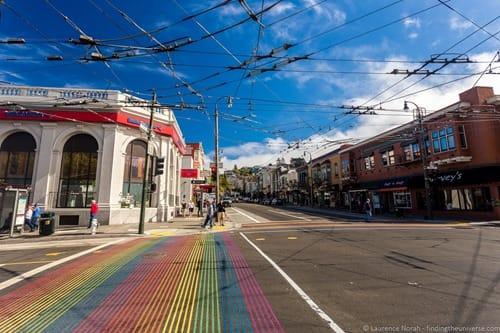 Castro rainbow crosswalk san francisco