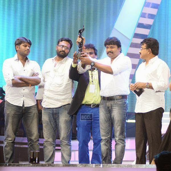 'Thanga Meengal' cast pose with Best Film award in Tamil during the 61st Idea Filmfare Awards South, held at Jawaharlal Nehru Stadium in Chennai, on July 12, 2014.