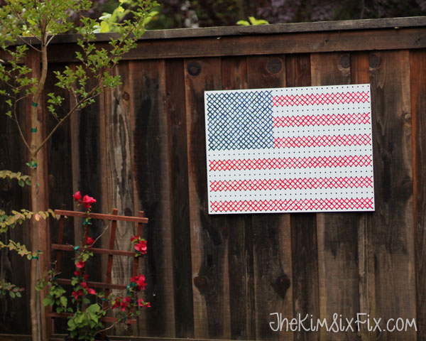 American flag cross stitch beadboard